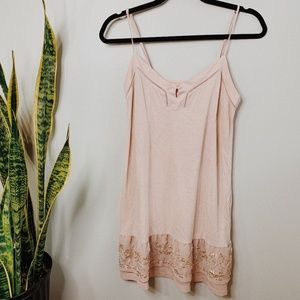 • FOSSIL • pink & gold beaded sequins slip dress